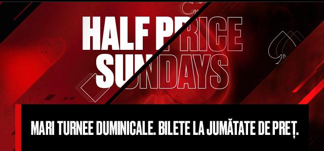 Promotia Half Price Sunday: 6 turnee la jumatate de pret pe platforma Pokerstars in aceasta duminica