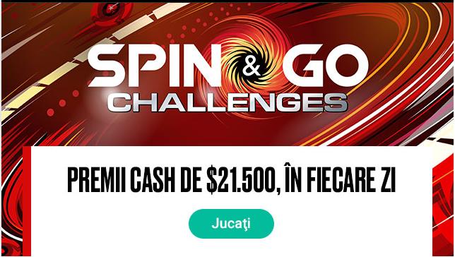 Joaca in provocarile Spin & Go pe Pokerstars si poti castiga premii in fiecare zi in functie de pozitia din clasament!