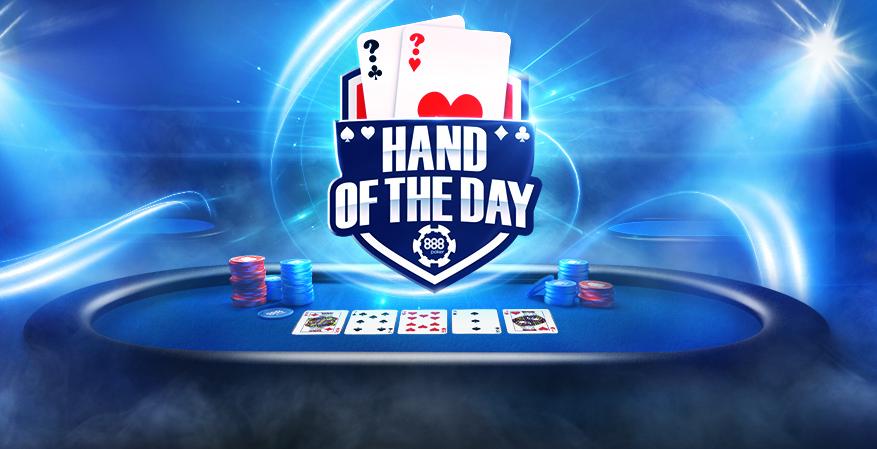 Participa la promotia Hand of the Day pe 888: premii de pana la $5000 cash pe zi!
